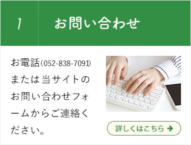 01. お問い合わせ  お電話(052-838-7091)または当サイトのお問い合わせフォームからご連絡ください。